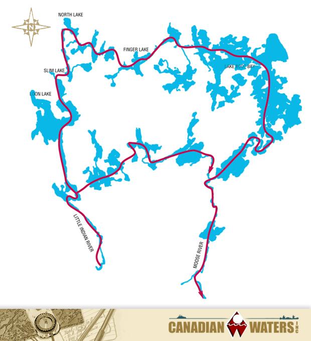 Little Indian Sioux River, Loon Lake, Slim Lake, North Lake, Finger Lake, Lady Boot Bay & Moose River